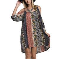 Kori America Women's Multi Print Cold Shoulder Dress