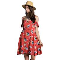 Kori America Women's Off Shoulder Floral Flutter Sleeve Dress