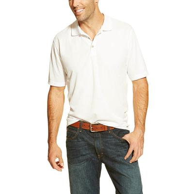 Ariat Men's White Short Sleeve Tek Polo