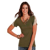 Panhandle Slim Women's Olive Knit Top With Lace Sleeves