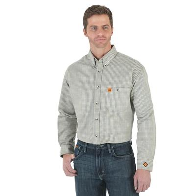 Wrangler Mens Flame Resistant Long Sleeve Button Down Shirt