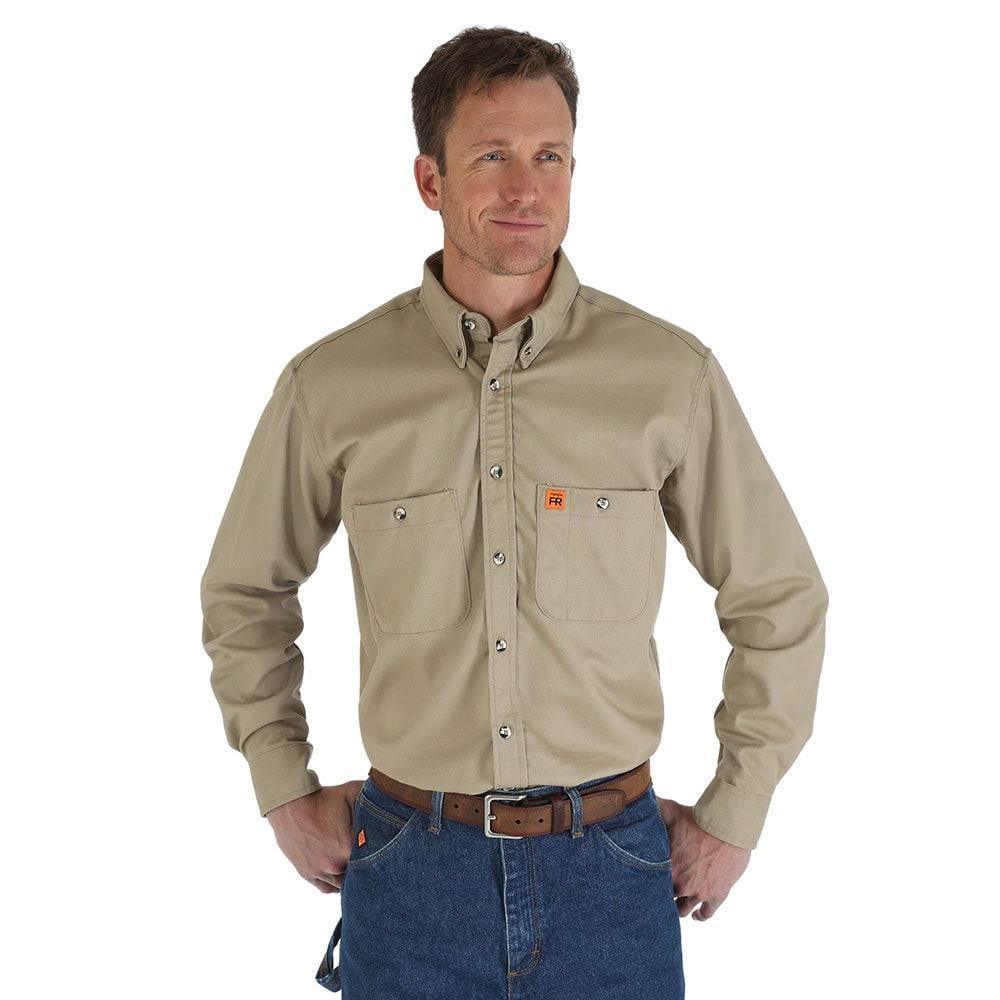Wrangler men 39 s khaki flame resistant work shirt for Flame resistant work shirts