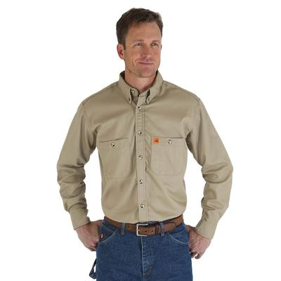Wrangler Men's Khaki Flame Resistant Work Shirt