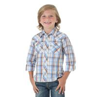 Wrangler Boy's Plaid Long Sleeve Western Snap Shirt