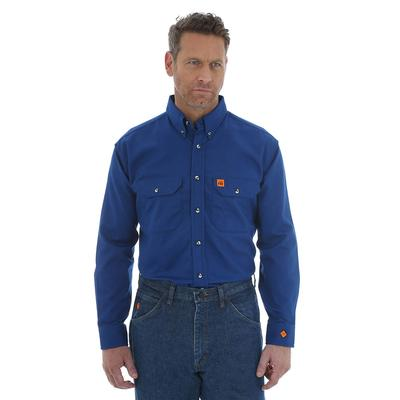 Wrangler Men's Long Sleeve Blue Flame Resistant Shirt