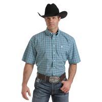 Cinch Men's Light Blue Plaid Short Sleeve Shirt