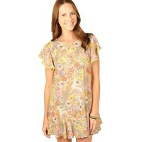 Uncle Frank Women's Floral Dress With Flounce Sleeves