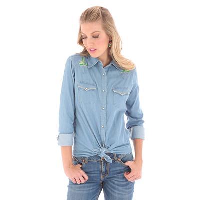 Wrangler Women's Long Sleeve Embroidered Denim Snap Shirt