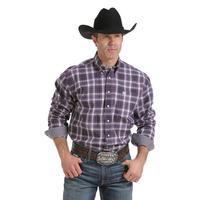 Cinch Men's Purple Plaid Long Sleeve Shirt