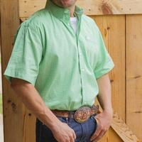 Cinch Men's Short Sleeve Green And White Shirt
