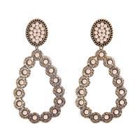 Pink Panache's Bronze Oval Teardrop Ivory Crystal Earring