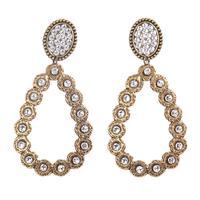 Pink Panache's Bronze Oval Teardrop Clear Crystal Earring