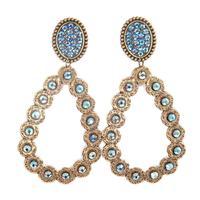 Pink Panache's Bronze Oval Teardrop Blue AB Crystal Earring