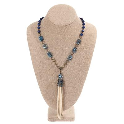 Pink Panache's Montana Blue Beaded Crystal Leather Tassel Necklace