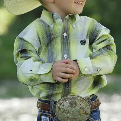 Cinch Boy's Long Sleeve Ombre Plaid Shirt