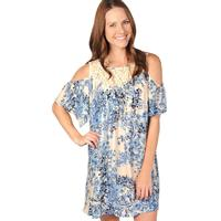 Uncle Frank Women's Lace Yoke Blue Floral Dress