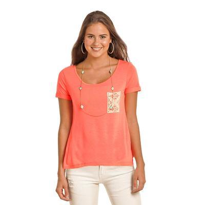 Rock & Roll Cowgirl Women's Crochet Pocket T- Shirt