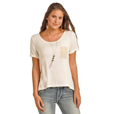 Rock & Roll Cowgirl Women's Ivory Crochet Pocket T- Shirt
