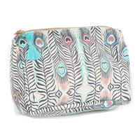 Turquoise Pink Feather Print Vinyl Accessory Bag
