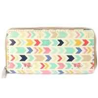 Multi Colored Chevron Vinyl Clutch Wallet