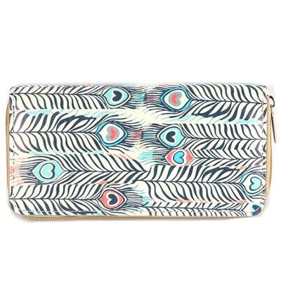 Multi Colored Peacock Feather Vinyl Clutch Wallet
