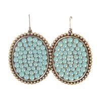 Pink Panache's Bronze Large Opal Crystal Oval Earring