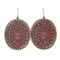 Pink Panache's Bronze Large Rose Crystal Oval Earring