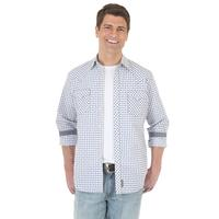 Wrangler Men's Blue and White Retro Snap Shirt