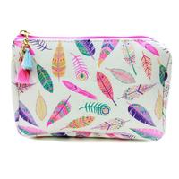 Multi Colored Feather Print Accessory Bag