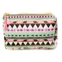 Brown and Pink Tribal Print Accessory Bag