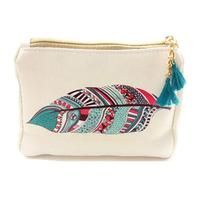 Feather Tribal Print Accessory Bag