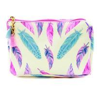 Fuchsia Feather Accessory Bag