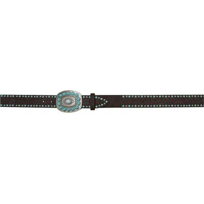 3D Women's Silver And Turquoise Stud Belt