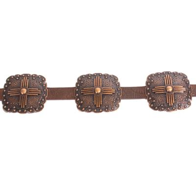 3D Women's Brown Floral Embossed Leather Belt