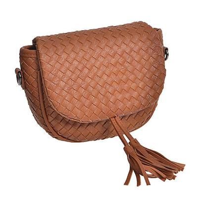 Basketweave Crossbody Handbag CAMEL