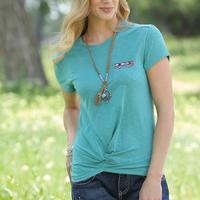 Cruel Girl Women's Teal Pocket T-Shirt