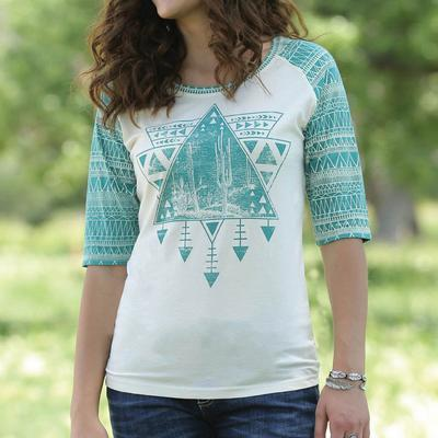 Cruel Girl Women's Cream And Teal Tribal T- Shirt