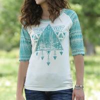 Cruel Girl Women's Cream and Teal Tribal T-Shirt