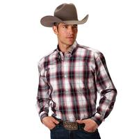 Roper Men's Black and Red Plaid Shirt