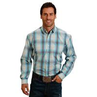 Stetson Men's Water Blue Plaid Shirt