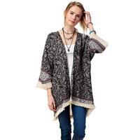 Kori America Women's Paisley Fringe Kimono