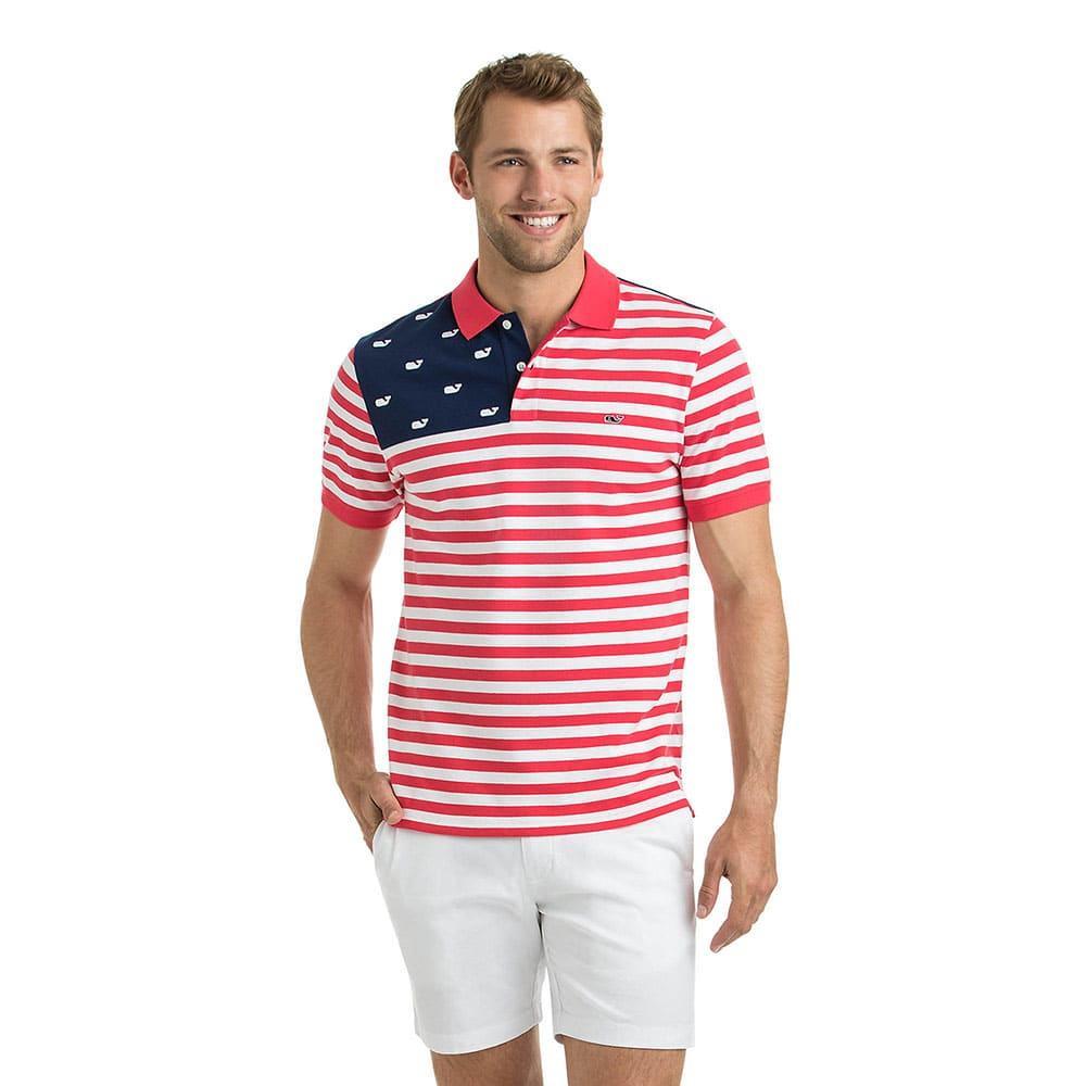 38c774bf Vineyard Vines Men's USA Flag Slim Polo Shirt