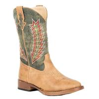 Roper Youth Arrowheads Tan & Green Boot