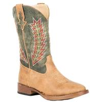 Roper Boy's Arrowheads Tan & Green Boot