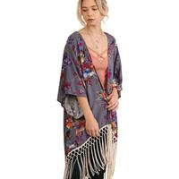 Umgee USA Women's Hi-Low Floral Kimono With Fringe