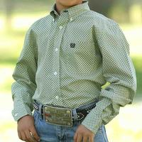 Cinch Boy's Green And Black Geo Print Button Shirt