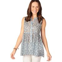 Ivy Jane Women's Sleeveless Blue Daisy Top