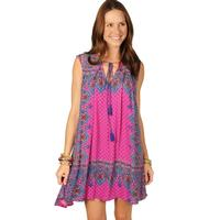 Uncle Frank Women's Bright Pink And Blue Tassel Tie Dress