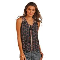 Rock & Roll Women's Embroidered Aztec Print Top