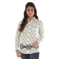 Wrangler Women's Cactus Print Snap Shirt